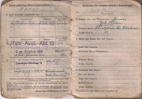 Soldbuch for a Fahrer on the Russian and and Italian Fronts