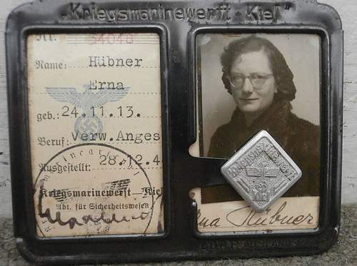 Ausweis from Kiel Kriegsmarine base