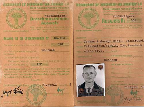 NS jungbauernring der Landesbauerschaft Rheinland 1934 ausweis