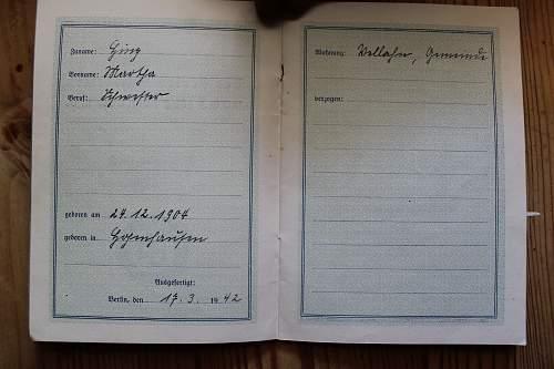 Reichsbund der Freien Schwestern und Pflegerinnen ausweis 1938