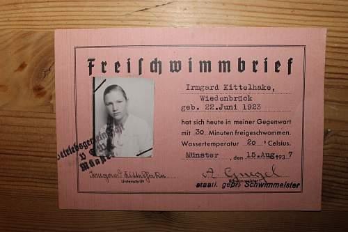 Freischvimmbrief isued to a girl 15 august 1937