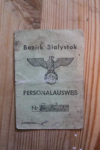 Bezirk Bialystok personal ausweis 11.06.1943