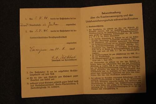 Kriegsinsatzpass 28.8.1940
