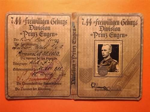 SS Soldbuch ID card