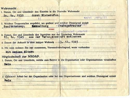 Medic Drivers Soldbuch 95 Inf. Div