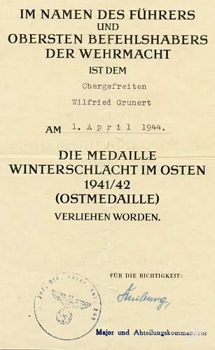 Help with unit stamp on Winterschlacht im Osten award document