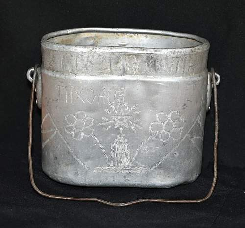 Captured German mess kit with Soviet trench art-named to KIA