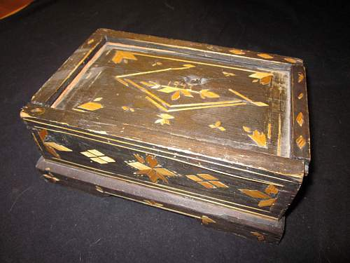 """Soviet POW """"trench art"""" wooden boxes"""
