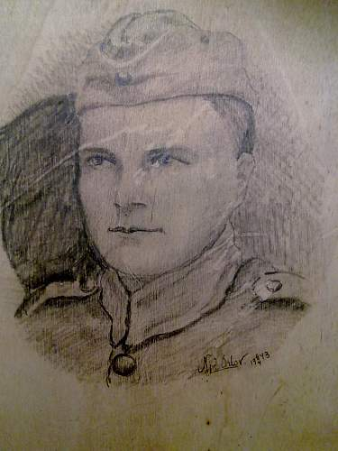 Soviet POW pencil drawing (self portrait) while inprisoned in Finland
