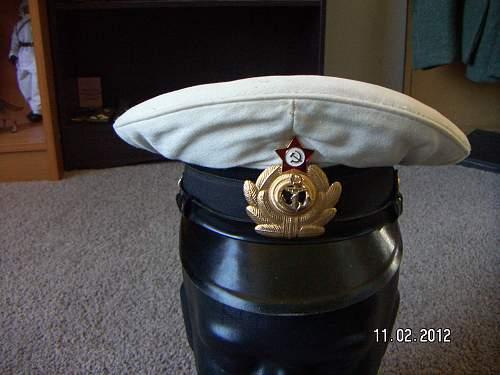 1980's Soviet Navy Jr Officers summer visor.