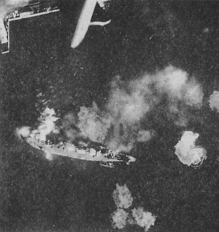 """Kruiser """"Marat"""" being bombed, and after"""