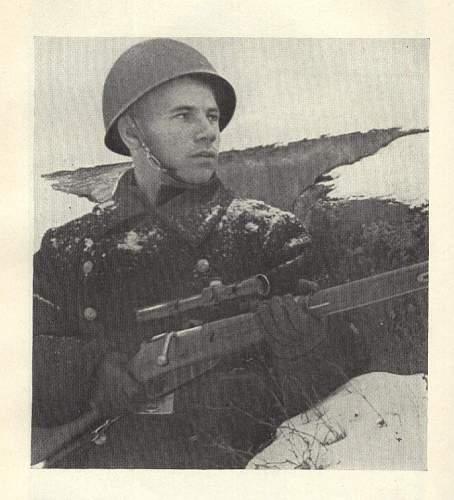 Soviet Navy sniper, being worn Estonian helmet