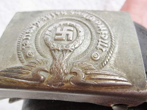 SS belt buckle. With unmarked belt. Good?