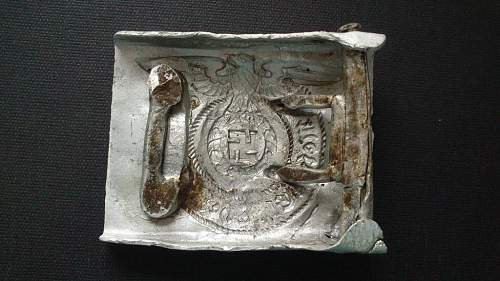Two SS AL ground dug buckles from field