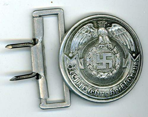"""WWII Waffen SS Officers Belt Buckle. Measures 1 7/8"""" in diameter. The reverse is marked 'RZM SS TW'"""