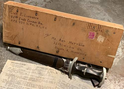 SS Dagger - Robert Klass with shipping crate & capture paper