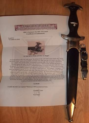 Click image for larger version.  Name:SS Dagger with certificate.jpg Views:83 Size:221.9 KB ID:437982