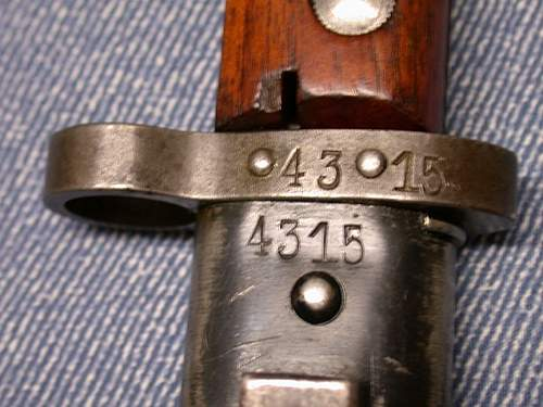 SS Chained Type II with SS Number and initials on the Tang Nut