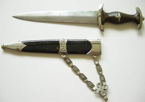 Click image for larger version.  Name:SS M36 dagger and scabbard..JPG Views:1641 Size:148.4 KB ID:5094