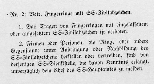 Click image for larger version.  Name:Ringe mit Zivilabzeichen Verbot [SS-Befehlsblatt 1935_10_25] 1.jpg Views:5 Size:98.4 KB ID:766064