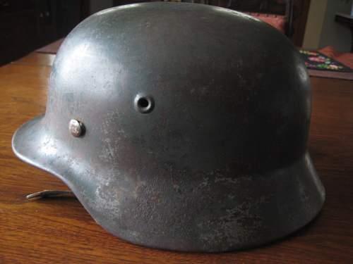 SS M40 Helmet ET68 Lot# 801 battle worn