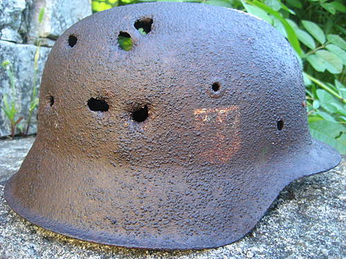 One more battlefield damaged m42 SS helmet  from Lett.19.SS.Frw.Div.position