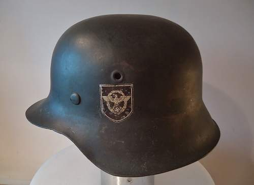 M42 Police helmet with SS runic decal, real or fake??