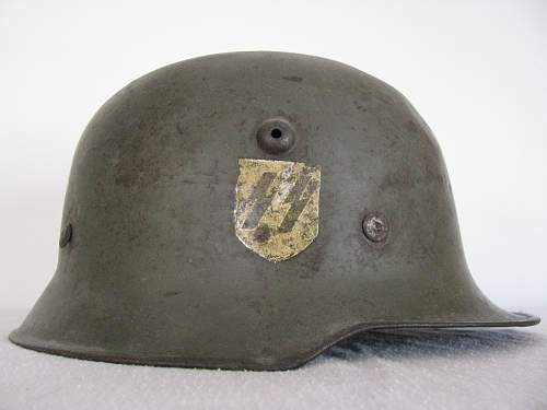 Medium Weight M34 Double Decal SD SS Helmet with Interesting Pocher Runic Decal