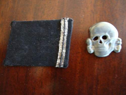 I found these ss items: cap skull, three edge prongs and rank collar tab