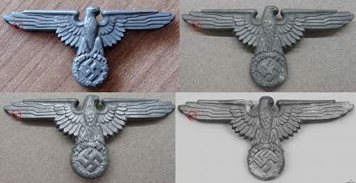 Late war unmarked three prongs Assmann visor cap eagle.