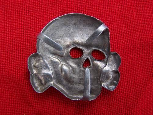 SS insignia set, Assmann eagle and 3 edge prong skull