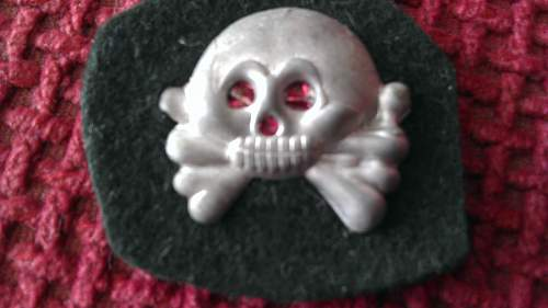 SS Visor Eagle, Edelweiss and Heer Panzer Skull with Backing.