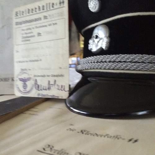 alu cap insignia as originally found, ca. 1938 peaked cap.