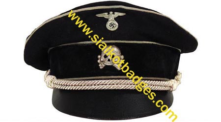 Name:  WW2 VISOR HAT WAFFEN-SS  WM-005 M43 FIELD BLOUSE TROPICAL CAMO Early ALLGEMEINE-SS OFFICER VISOR.JPG