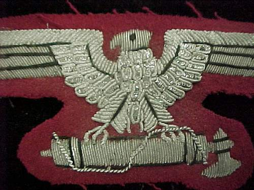 Supposed Waffen SS officers sleeve eagle in bullion