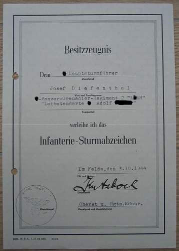ISA Award Document Diefenthal