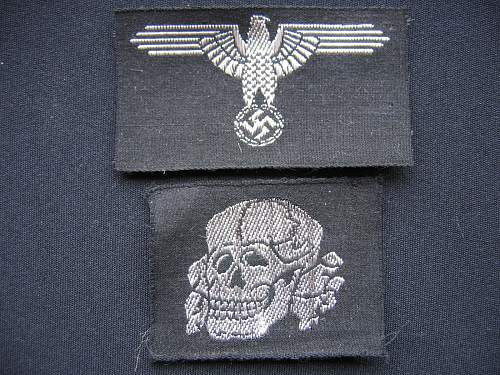 Belgium made machine woven ss cap skull and eagle set ( mint )