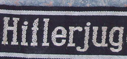 Hitler Jugend cuff title and armband
