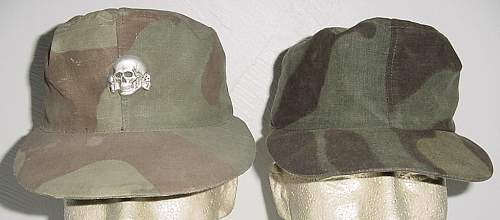Italian camo hat with bevo weave tropical totenkopf .......... legit hat or just a70's fake?