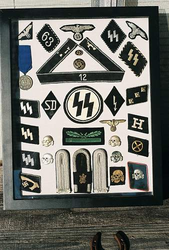 Shadow box of ss insignia