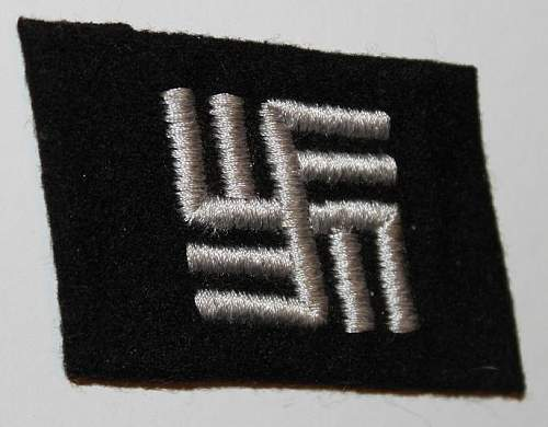 Double swastika collar tab -opinions please