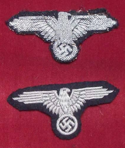 SS Officer embroidered Arm eagles, real ?
