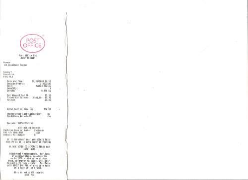 Click image for larger version.  Name:haymans postal receipt.jpg Views:781 Size:164.1 KB ID:30628