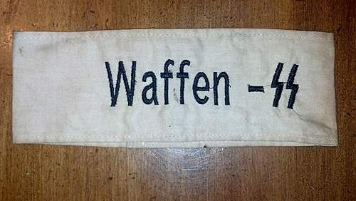 Arm Band Waffen SS Stitched on in black. Came with Luftwaffe shirt eagles and other armbands.