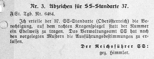 Name:  Edelweißabzeichen Standarte 37 [Befehl Dezember 1932].jpg Views: 324 Size:  41.1 KB