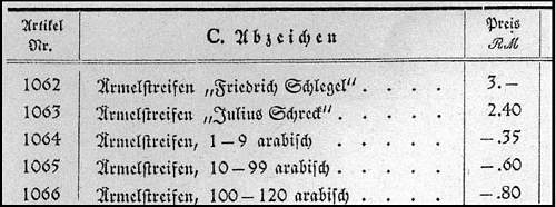 Click image for larger version.  Name:Preisliste_1939_Ärmelstreifen.JPG Views:23 Size:41.5 KB ID:477219