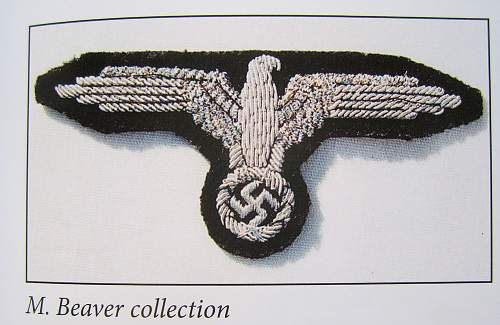 Early SS sleve eagle on Panzer cloth