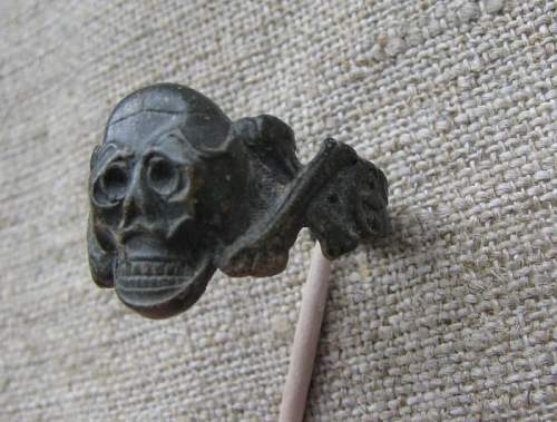 """Deaths head ring fragment and half of """"field made"""" SS rune"""