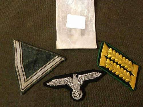 SS Eagle, V Patch and Army? Collar Patch - Opinions Please
