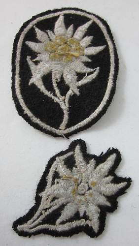 Waffen SS Dachau insignia sleeve & cap Edelweiss